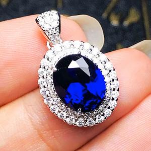 完美无瑕皇家蓝!2.3克拉美国进口合成蓝宝石豪镶满钻纯银吊坠