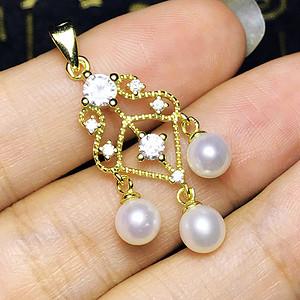强光正圆!复古宫廷蕾丝款纯银镀18K黄金镶天然淡水珍珠吊坠