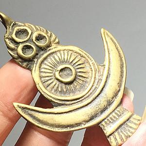 藏传 晚清 日月星 铜制托甲 手工雕刻