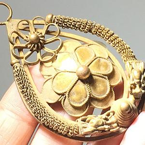 清代 纯银鎏金 双龙护主 簪花挂件 工艺精美