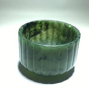 清代 和田碧玉 菠菜绿 条纹杯 手工制作