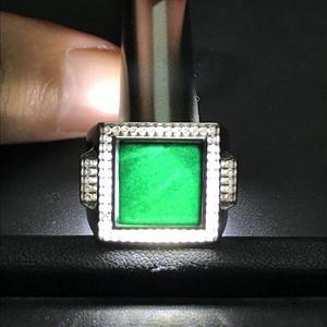 联盟珠宝  缅甸天然A货翡翠 墨翠925纯银男士戒指