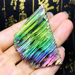 超漂亮彩虹铋晶体!超低6元克价高纯度金属铋晶体原石牌子吊坠