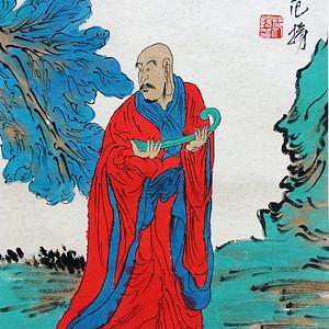 名家之作!范杨老师作品十八罗汉之如意罗汉图写意人物画!已装裱