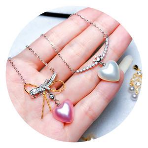 国庆福利半价起拍!日本AKOYA海水珍珠完美心形马贝珍珠精致项链