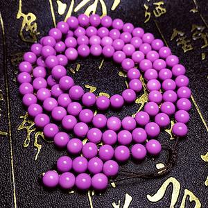 夏天就要美美哒!漂亮紫云母色正圆贝宝珠紫色贝珠108佛珠手链
