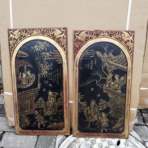 一对特别漂亮的镏金人物画板