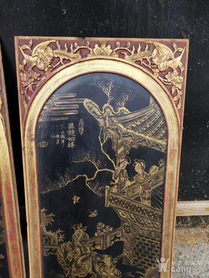 一对特别漂亮的镏金人物画板图2