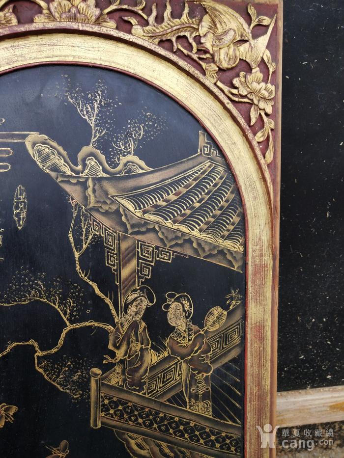 一对特别漂亮的镏金人物画板图5