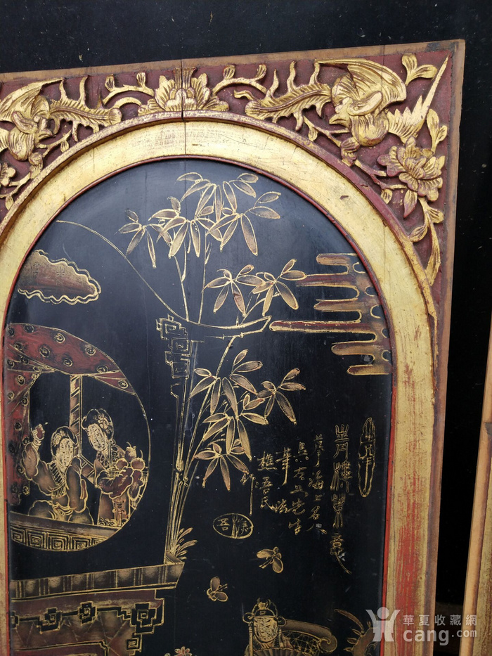 一对特别漂亮的镏金人物画板图6