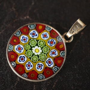 意大利925银镶嵌纯手工琉璃吊坠