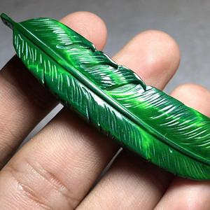 民国 虬角 羽毛 手工雕刻 挂件 工艺精美