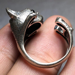 回流 老 斗牛犬 纯银 戒指 手工錾刻造型可爱写实雕刻 十分精美可爱