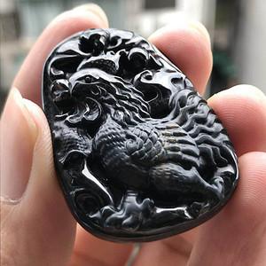 联盟珠宝  缅甸天然A货翡翠 墨翠生肖鸡挂件