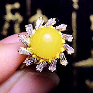 国庆福利半价起拍!满蜜鸡油黄!波罗的海天然蜜蜡黄蜜正圆珠纯银戒指