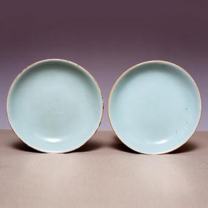 藏海淘 清中豆青釉瓷盘一对 JZ489