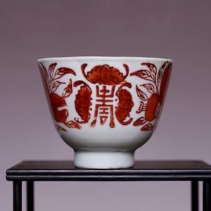 藏海淘 清三多纹矾红彩寿字碗 JZ374