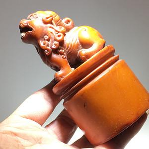 清代 寿山石 老料南工 貔貅 手工雕刻