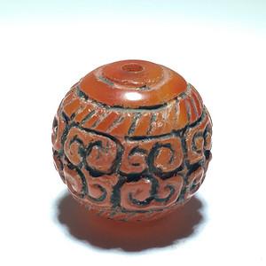 清代 红 玛瑙 回纹 单珠 花纹漂亮 工艺不错