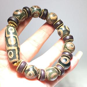 藏传 民国 三眼天珠手串 玛瑙材质 手工制做 东西大开门