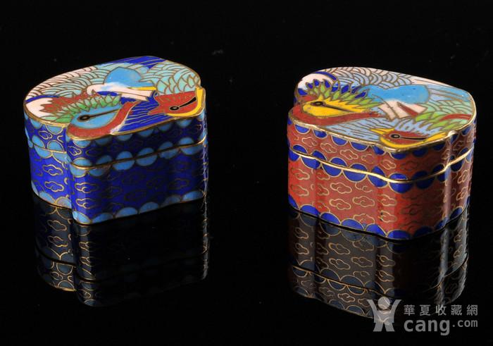 欧美回流 漂亮景泰蓝鸳鸯小盒一对图5