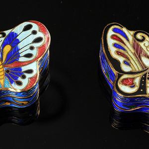 欧美回流 精美景泰蓝蝴蝶形小盖盒一对