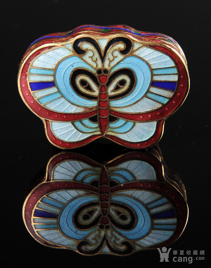 欧美回流 精美景泰蓝蝴蝶形小盖盒一对图8