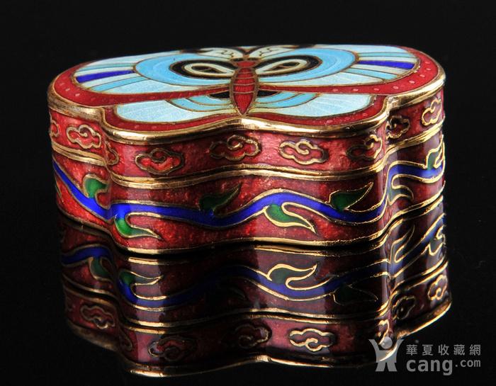 欧美回流 精美景泰蓝蝴蝶形小盖盒一对图9