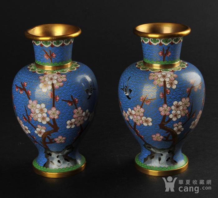 海外回流 花鸟纹景泰蓝瓶一对图1