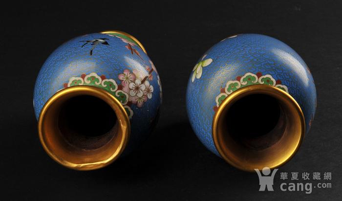 海外回流 花鸟纹景泰蓝瓶一对图3