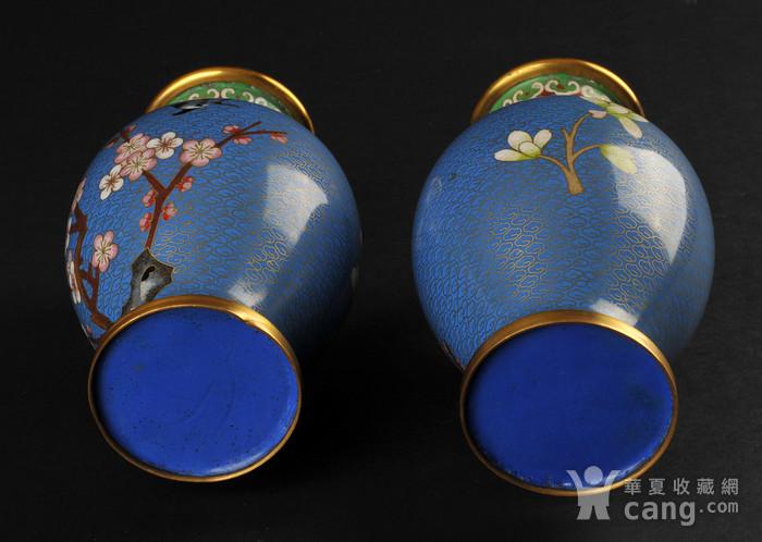 海外回流 花鸟纹景泰蓝瓶一对图4