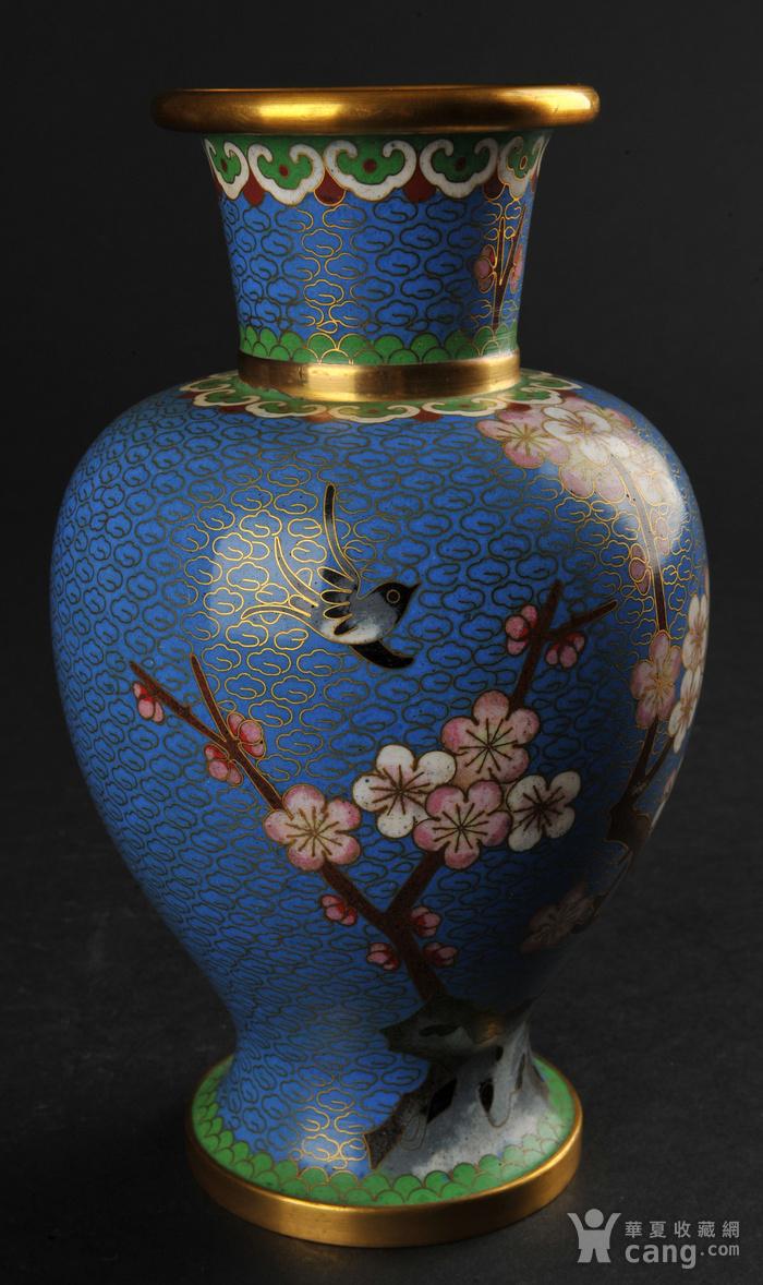 海外回流 花鸟纹景泰蓝瓶一对图6