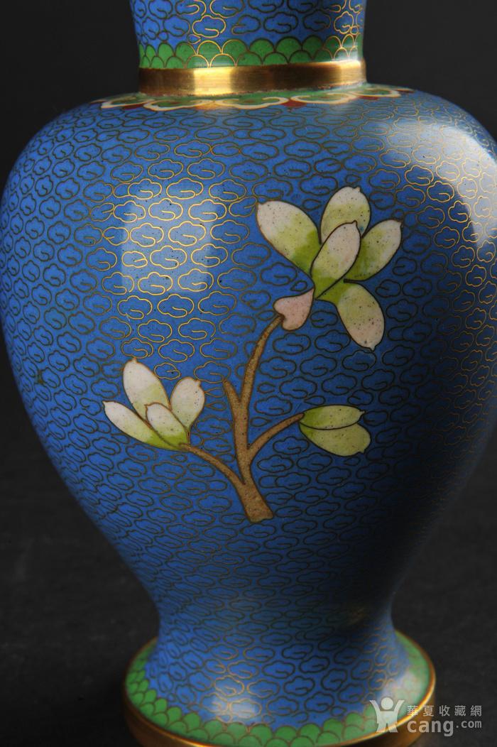 海外回流 花鸟纹景泰蓝瓶一对图7