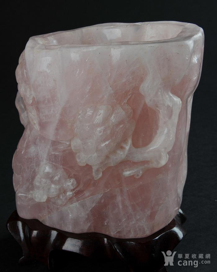欧美回流 天然粉水晶随形雕笔筒图6
