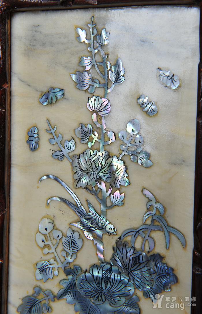 欧美回流 老蛇纹石嵌螺钿花鸟纹四扇小桌屏图9