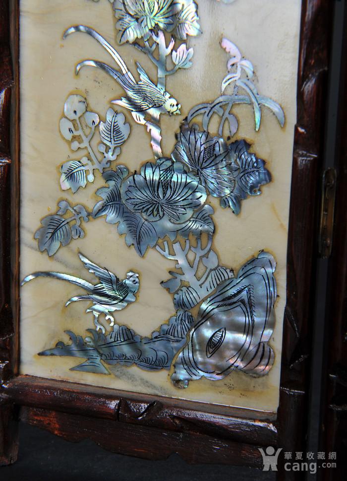 欧美回流 老蛇纹石嵌螺钿花鸟纹四扇小桌屏图10