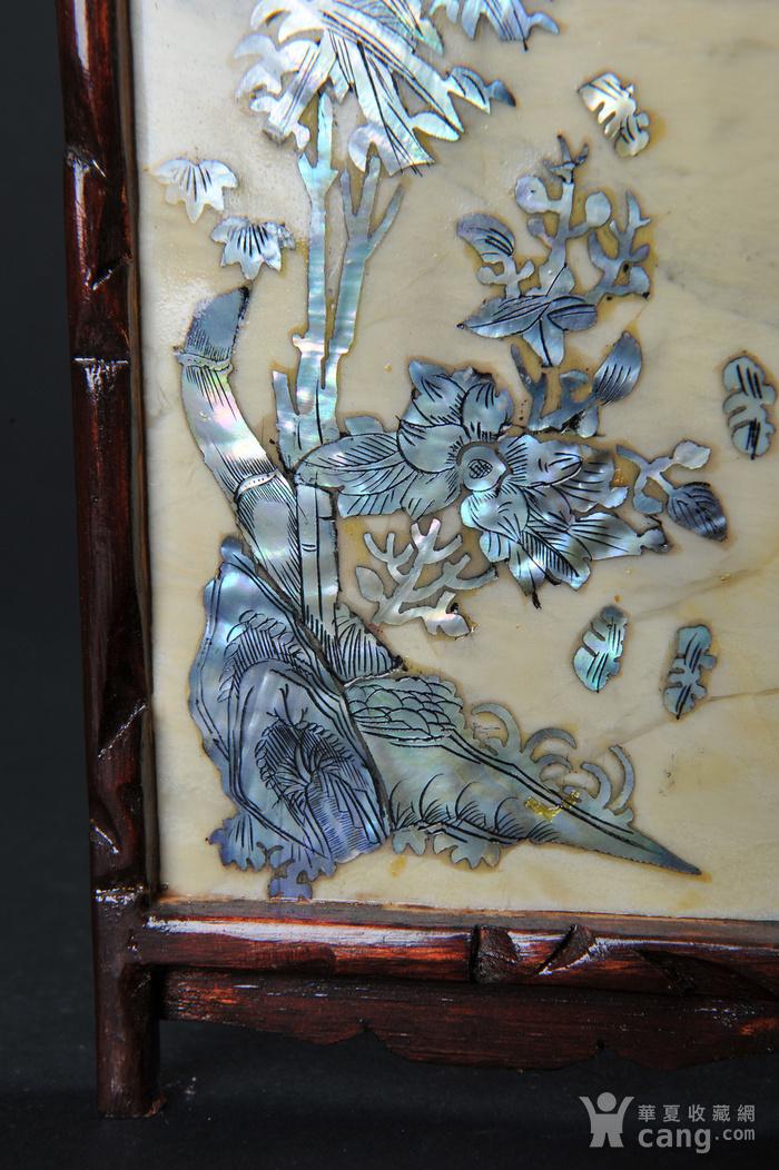 欧美回流 老蛇纹石嵌螺钿花鸟纹四扇小桌屏图11