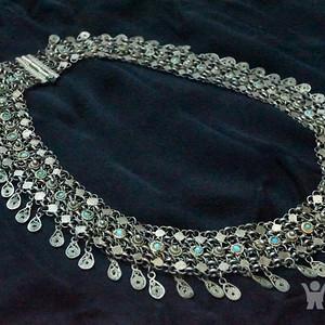 回流老银掐丝镶嵌松石项链