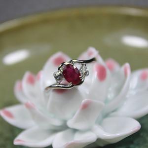 精品彩宝 红宝石 925银活口戒指1