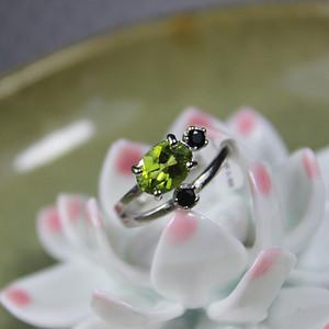 精品彩宝 橄榄石 925银活口戒指2