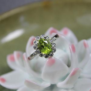 精品彩宝 橄榄石 925银活口戒指3