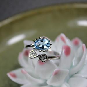 精品彩宝 托帕石 925银活口戒指1