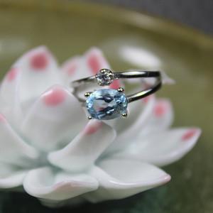 精品彩宝 托帕石 925银活口戒指2