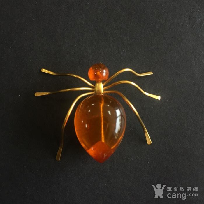 8009欧洲回流俄罗斯金工琥珀蜘蛛胸针图2