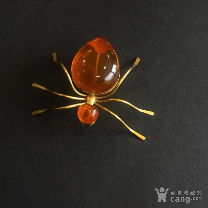 8009欧洲回流俄罗斯金工琥珀蜘蛛胸针图3