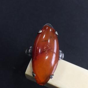 8022欧洲回流老银镶嵌蜜蜡戒指