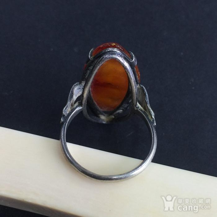 8022欧洲回流老银镶嵌蜜蜡戒指图2