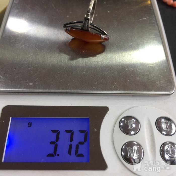 8022欧洲回流老银镶嵌蜜蜡戒指图8