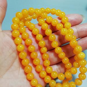 天然蜜蜡质感 黄玛瑙 DIY珠串100粒