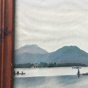 织锦缎的杭州西湖之平湖秋月解放前作品